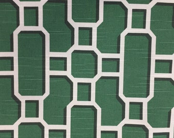 Emerald Green Modern Lattice - Chinoiserie Fabric - Upholstery Fabric by the Yard