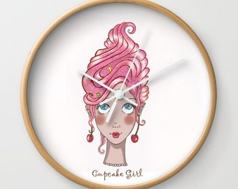 Cupcake Girl wall clock