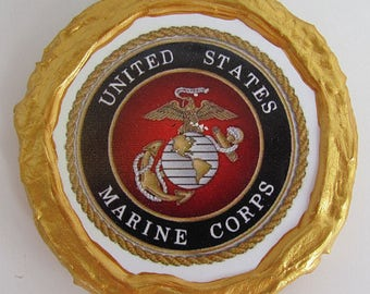 NEW!!! - Gold Rim U.S. Marines Seal Magnet - Multi-Colored - Refrigerator Magnet