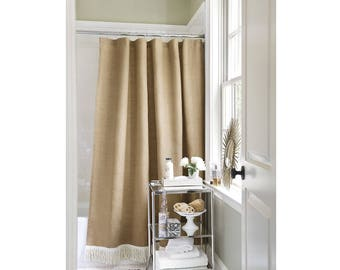 No Oder: Hemmed Natural Burlap Shower Curtain With Bullion Fringe / Country  Farmhouse Rustic Bathroom