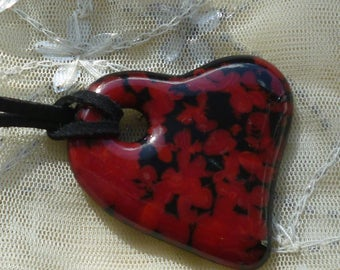 Fused Glass Pendant.  Glass Red Heart Pendant. Red Heart Necklace.
