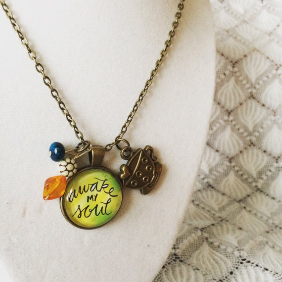 Awake My Soul Pendant Necklace Hand Lettered Catholic Christian Jewelry Gifts for Her Coffee Charm Bead Accents