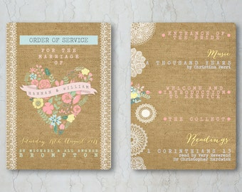 Hessian Floral Order of Service