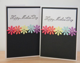 Rainbow Mother's Day Card. Embellished Card. Handmade Greeting Card. Blank Card for Mom.  Happy Mother's Day
