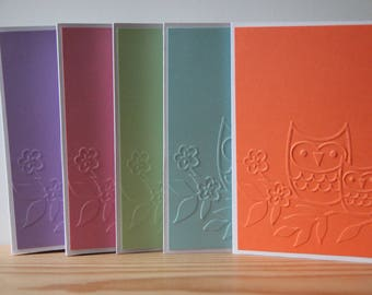 5 Owl Note Cards. Blank Card Set.  Embossed Owl Cards. Woodland Note Cards.  Owl Thank You Cards.  Owl Gift.  Teacher Cards