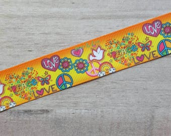 """7/8"""" Ribbon by the Yard - Or/Yel Peace Love Doves"""