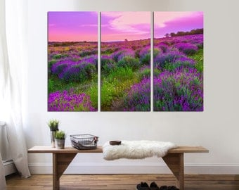 Lavender flowers blooming, Field with beautiful flowers, 3 Panel Canvas Split, canvas art, flower print,Room Decoration, Photo gift wall art