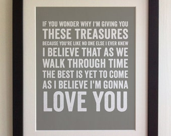 FRAMED Lyrics Print - Frank Sinatra, I Believe I'm Gonna Love You - 20 Colours options, Black/White Frame, Wedding, Anniversary, Valentines
