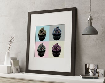 """LARGE 20""""x16"""" FRAMED Pop Art Cake Print, Black or White Frame/Mount, Cupcakes with pastel colours"""