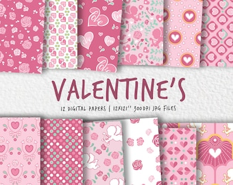Valentine's day digital paper, Valentine love patterns, scrapbook paper, unique patterned digital papers