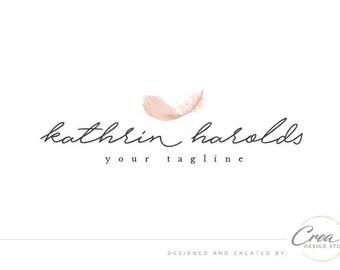 Feather logo/ Premade photography logo/ Rose-gold feather logo design/ Hand-written logo design/ Beautiful logo # 565