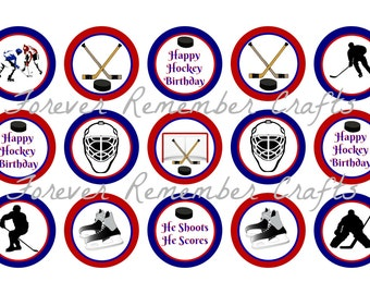 INSTANT DOWNLOAD Hockey Birthday Party 1 Inch Bottle Cap Image Sheets *Digital Image* 4x6 Sheet With 15 Images