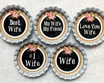 Set Of 5 Wife Inspired Bottle Cap Magnets