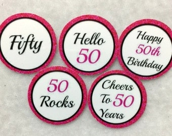 Set of 50/100/150/200 Personalized 50th Birthday Party 1 Inch Circle Confetti