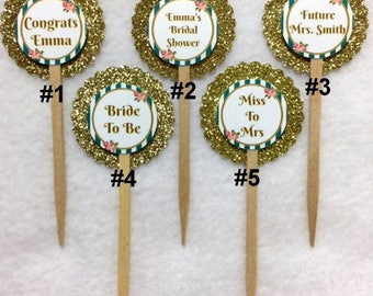 Set Of 12 Personalized Bridal Shower Cupcake Toppers (Your Choice Of Any 12)