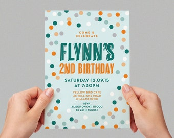 Confetti Sprinkles Bright Kids Party Invite First birthday Baby Boy Invite Colourful 1st 2nd 3rd 4th 5th Printable Invite