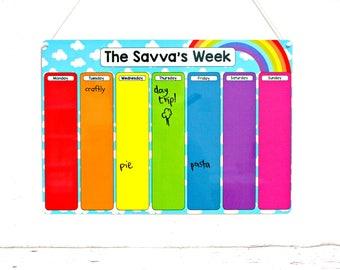 Family Weekly Planner Whiteboard - Rainbow Planner - Children's Week - Activity Organizer - Family Calendar - Weekly Organiser