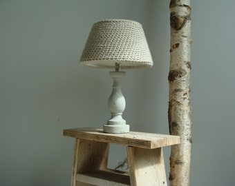 Table lamp concrete/crochet wool hood.