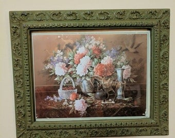 Framed flowers picture.          FREE SHIPPING!!    Item# 130175
