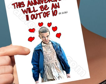 Funny Anniversary   Eleven   Cards Wife Gift Gift Best Friends Netflix Stranger Things Upside Down Love Cards  Funny Boyfriend Funny Him Her