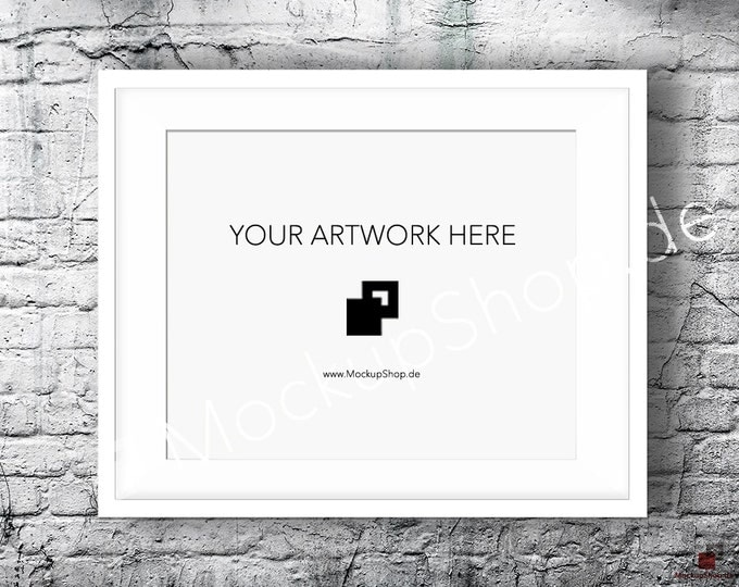 8x10 16x20 horizontal LANDSCAPE FRAME MOCKUP, Styled Photography Poster Mockup, old White Brick Background, Framed Art, Instant Download