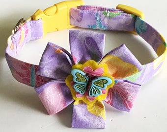 Purple Summer Butterfly Collar & Flower Set for Girl Dogs or Cats