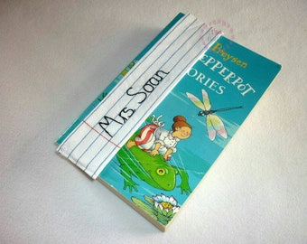 Personalised bookmark - teacher gift - end of term present - hand embroidered book mark - paper-effect sewn place holder - TA assistant gift