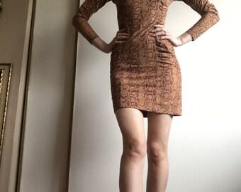 vintage 90's snakeskin print long sleeve mini dress