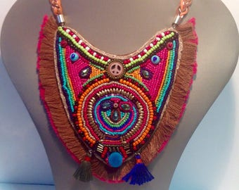 Ethnic bib necklace