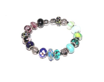 European charm bracelet with 19 different Pandora and Heart Beads Beads size is XL (19cm)