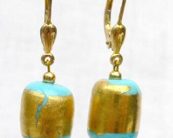 Earrings turquoise gold handmade earrings gold plated earring