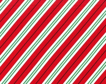 Michael Miller Studio Christmas Holiday, Candy Cane Stripe in Red with Green