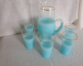 Vintage Mid-Century Blendo Aqua Frosted Lemonade Beverage Set with Pitcher and 5 Glasses