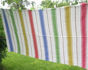 Vintage large woven table cloth Colorful striped cotton table cloth Red Yellow Green Blue #3-06