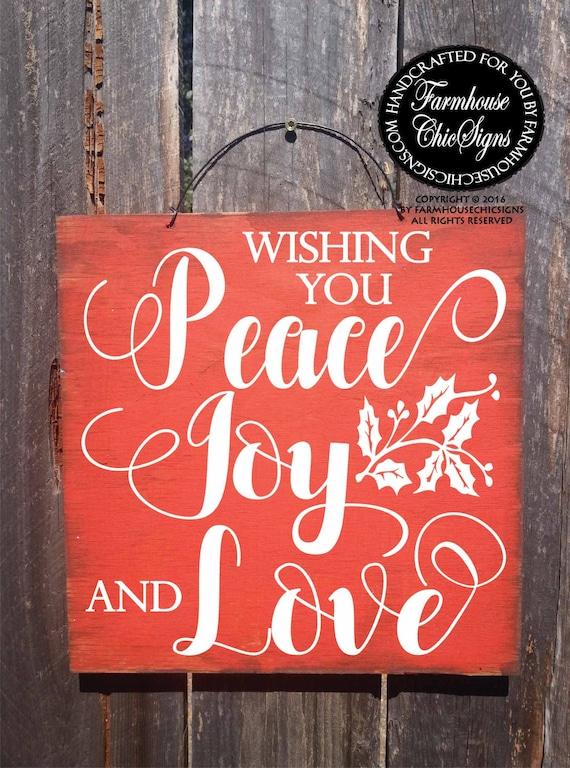 christmas decor, Christmas decoration, Christmas sign, wishing you peace love joy, peace sign, holiday decoration, Christmas season