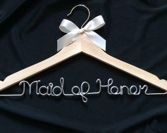 Maid of honor  hanger,Maid of honour hanger,wedding hanger,Personalized Hanger,Custom hanger,wire name hanger,bride hanger