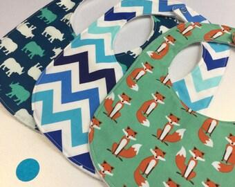 Fox and Rhino New Baby Bib Gift Set Baby Boy Clothing Bib Set Baby Bib New Baby Boy Gift Baby Gift Set New Baby Gift