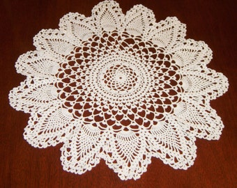 Vintage Doily, Or Candle Mat , Hand Crocheted In White,  Large Size, With Pineapple Pattern