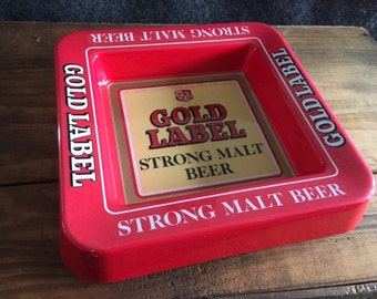 Vintage Gold Label Strong Malt Beer ashtray