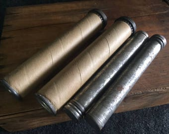 Vintage small mailing tubes metal and cardboard