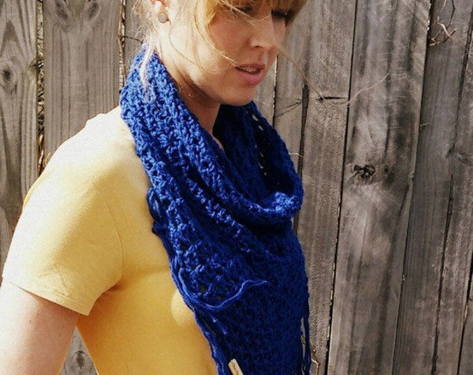 Crochet Cowl with fringe, The Nantucket Bay Cowl, Multi-Colored Cowl, Lightweight Cowl, Neutral Colored Cowl, Scarf, Cotton Cowl