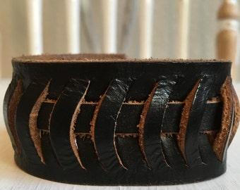 The Black Cutout Leather Cuff