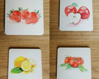 Coasters, pack of 4 paintings of fruit fruit coasters, fruit paintings on coasters, gifts for cooks. gifts, wedding gifts by dylshouse