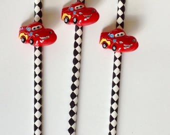 Set of Ten Disney's Cars, Lightening McQueen Party Straws