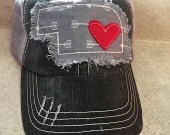 Nebraska distressed arrow patch baseball cap hat mesh back distressed gray FREE SHIPPING