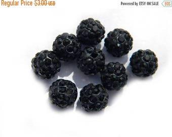 HALF PRICE 10 Black Rhinestone Disco Ball Beads 10mm
