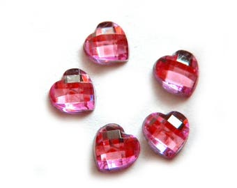 10 Pink Crystal Heart Resin Flatbacks - Resin Cabochons