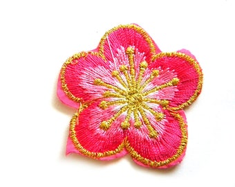 Pink Flower Embroidered Patch Appliqué