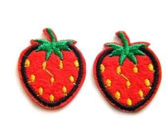 Pair of Strawberries Embroidered Patch Appliqué
