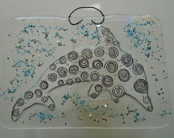 Fused glass dolphin plaque with copper spirals